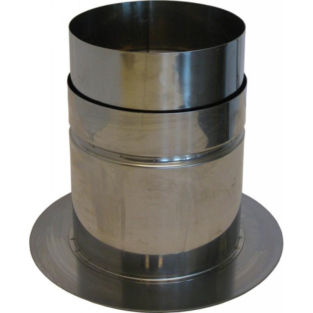 Enkelwandig rvs 150 mm nisbus met rozet for Kachelglas