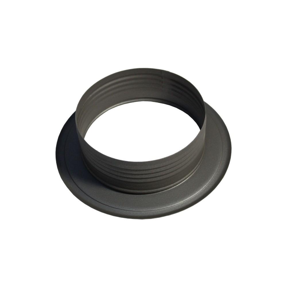 Insteekrozet 110 mm grijs voor enkelwandige kachelpijp for Kachelglas
