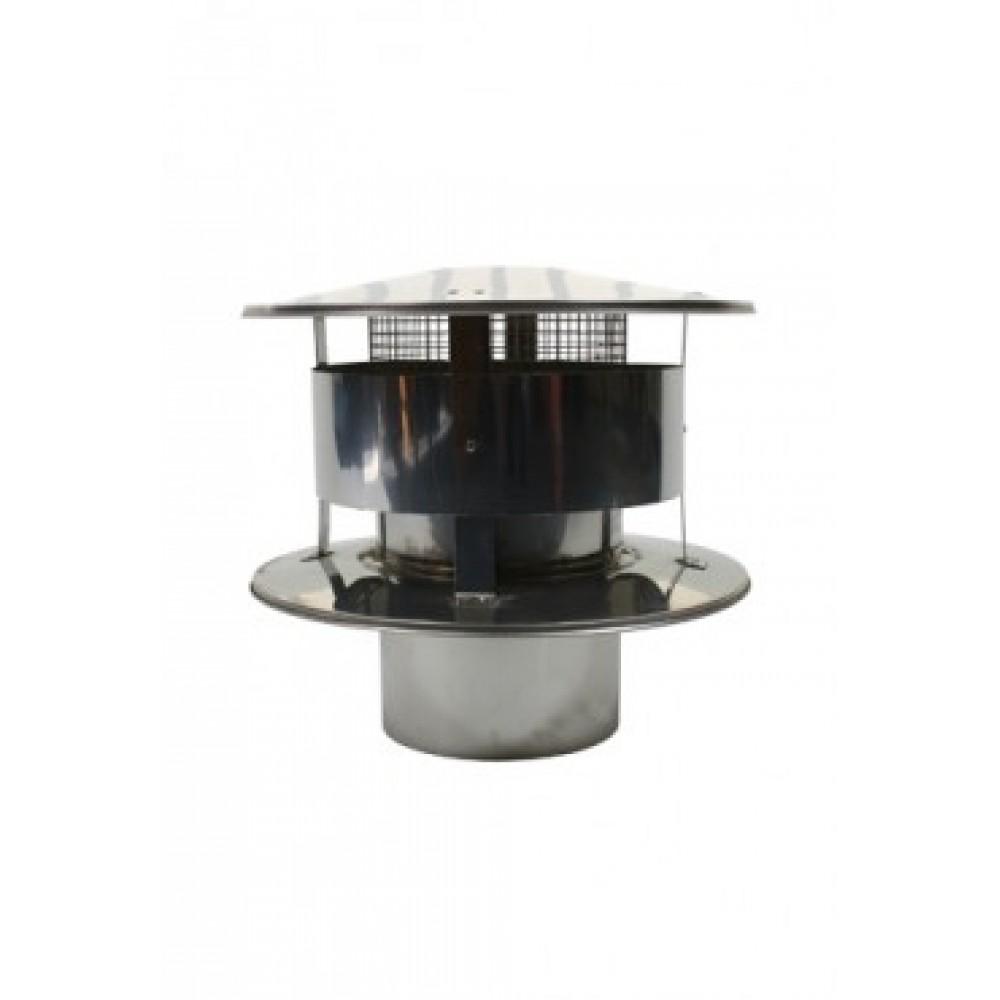Enkelwandig rvs 150 mm trekkende regenkap met gaas for Kachelglas